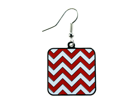 Chevron Red & White Square Dangle (CHVSQDEC/W)