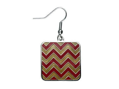 Chevron Red & Gold Square Dangle (CHVSQDEGAR/G)