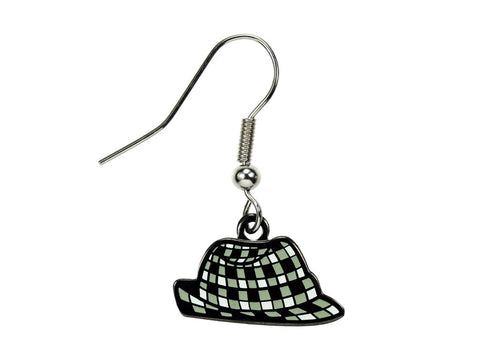 Houndstooth Hat Dangle Earrings
