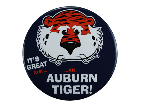 "AU Mascot Tiger, ""It's Great to Be"" Navy Button"