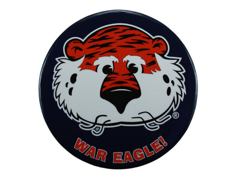 "AU Mascot Tiger, ""War Eagle"" Navy Button"