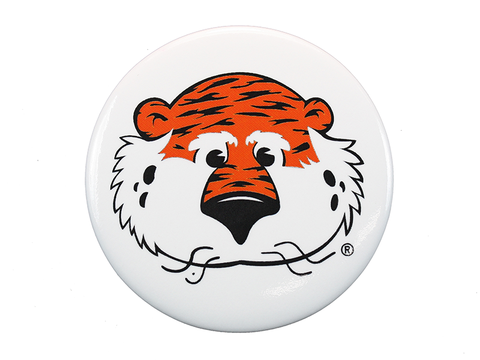 AU Mascot Tiger White Button