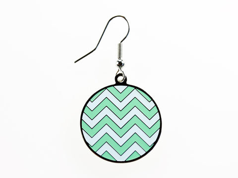 Chevron Mint & White Round Dangle (CHVRNDEMNT/W)