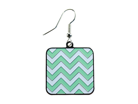 Chevron Mint & White Square Dangle (CHVSQDEMNT/O)