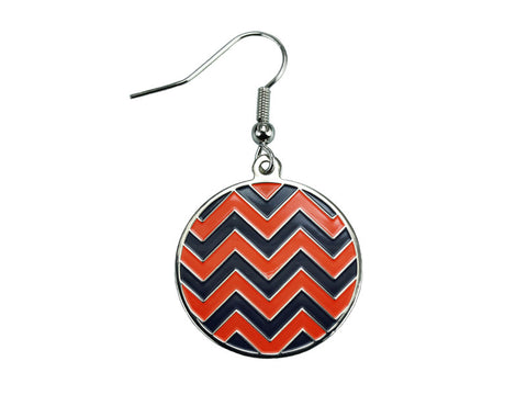 Chevron Navy & Orange Round Dangle (CHVRNDEN/O)