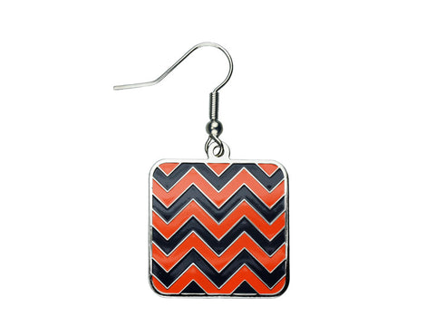 Chevron Navy & Orange Square Dangle (CHVSQDEN/O)