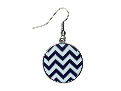Chevron Navy & White Round Dangle (CHVRNDEN/W)