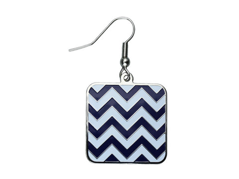 Chevron Navy & White Square Dangle Earrings