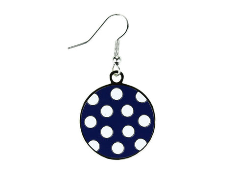 Polka Dot Navy & White Dangle Earrings