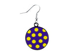 Polka Dot Purple & Yellow Dangle Earrings