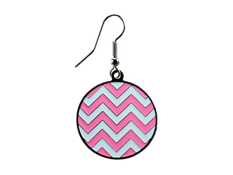 Chevron Pink & White Round Dangle (CHVRNDEPK/W)