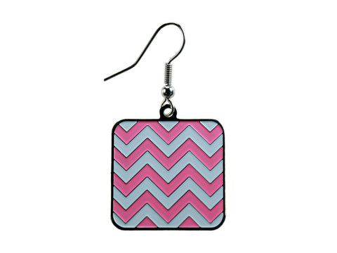 Chevron Pink & White Square Dangle (CHVSQDEPK/W)