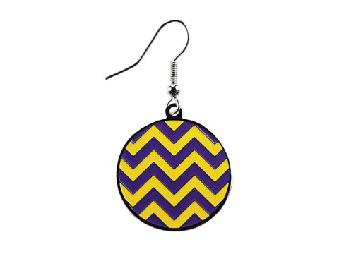 Chevron Purple & Yellow Round Dangle (CHVRNDEP/Y)