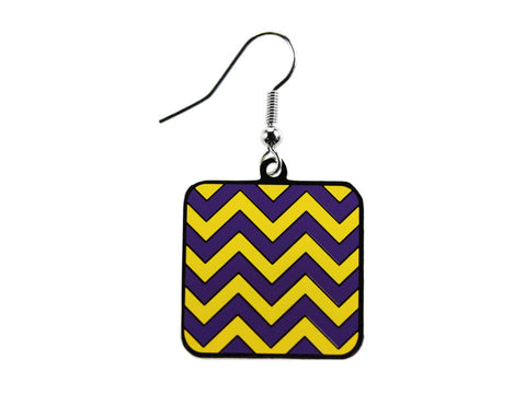 Chevron Purple & Yellow Square Dangle (CHVSQDEP/Y)