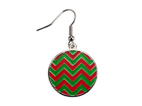 Chevron Red & Green Round Dangle (CHVRNDERED/G)