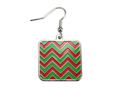 Chevron Red & Green Square Dangle (CHVSQDERED/GR)