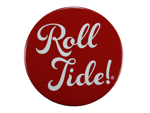 Roll Tide Fun Script Crimson Button