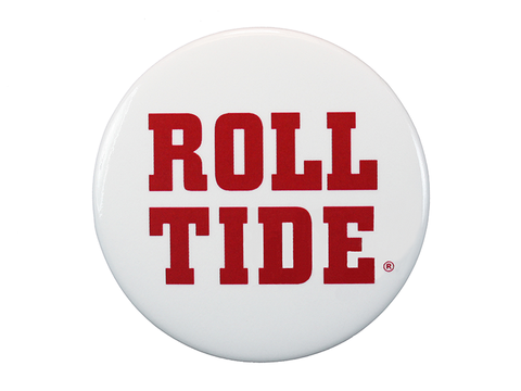 "Alabama ""Roll Tide"" on a White Button"