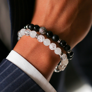 Ying & Yang Mens Mens Beaded Stack Bracelet