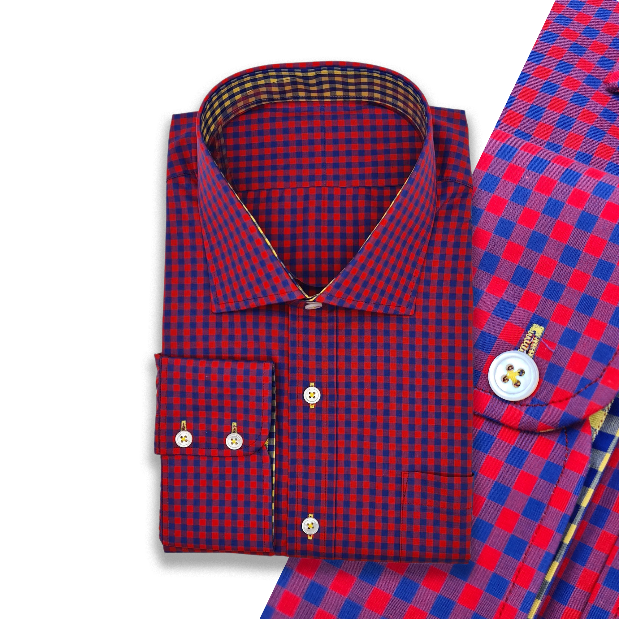 Red & Navy Gingham with Yellow & Navy Contrasts Shirt