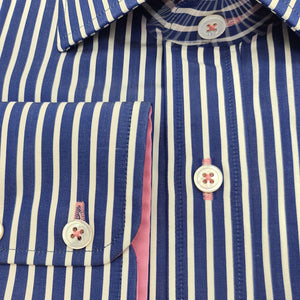 Navy & White Pinstripe with Hot Pink Contrast Shirt