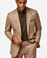 Load image into Gallery viewer, Camel Weave with Brown Chalk Stripe Suit