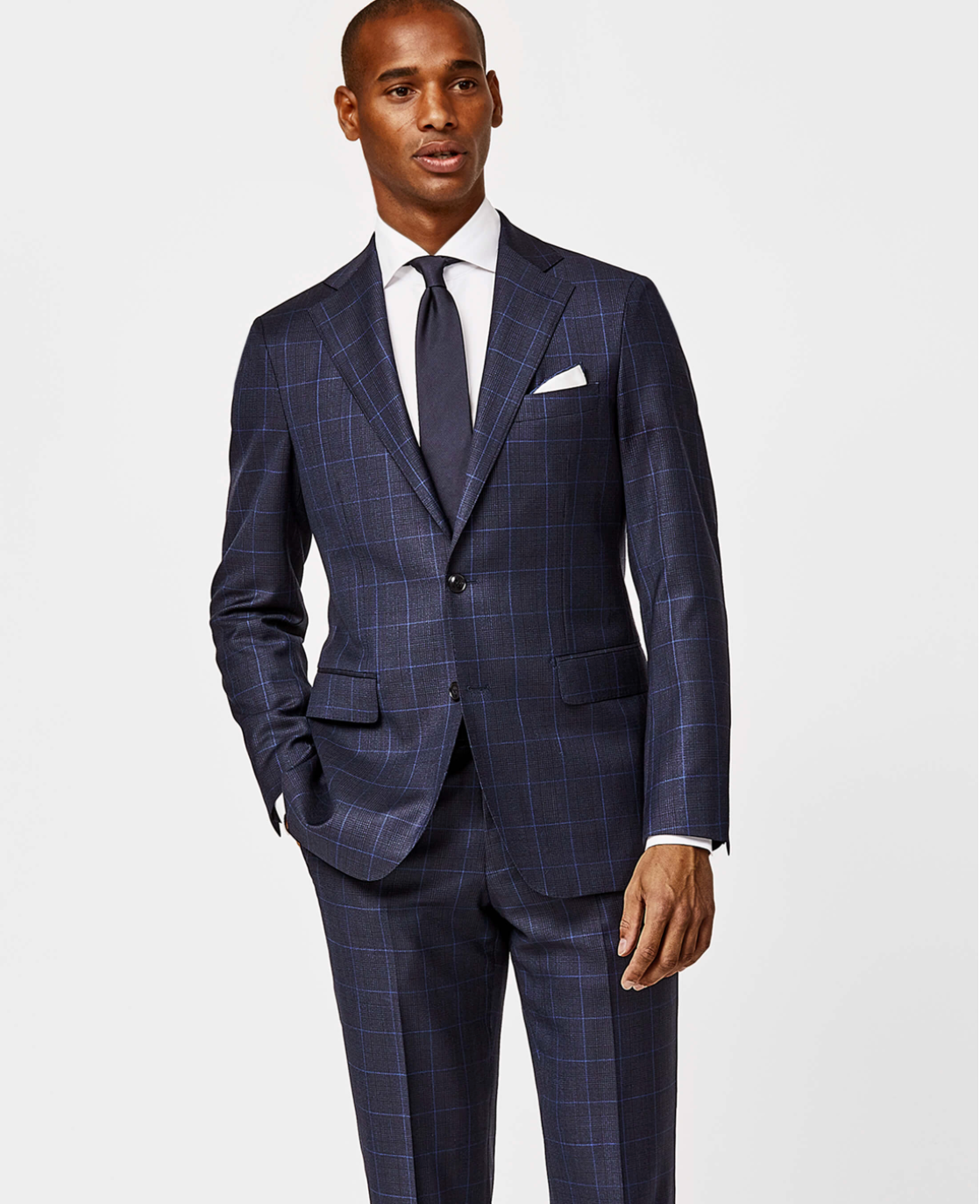 Navy With Sky Blue Price Of Wales Check Suit