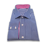Load image into Gallery viewer, Navy & White Pinstripe with Hot Pink Contrast Shirt