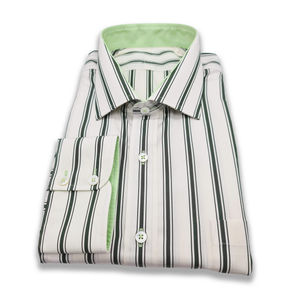 Green & White Double Striped Shirt