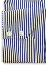 Load image into Gallery viewer, White & Navy Classic Stripe Mens Shirt