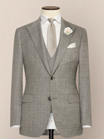 Load image into Gallery viewer, Grey & White 3-Piece Wedding Suit