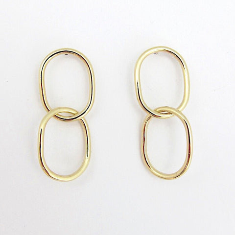 CAMILA Double Dangle Earrings in brass