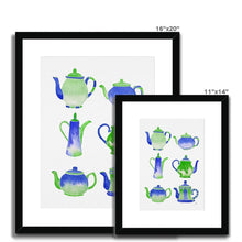 Load image into Gallery viewer, Blue Teapot Collection Framed & Mounted Print
