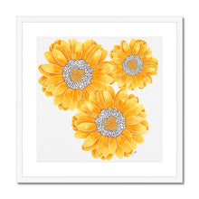Load image into Gallery viewer, Floral art print yellow mum white frame