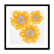 Load image into Gallery viewer, Floral art print yellow mum black frame