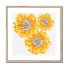 Load image into Gallery viewer, Floral art print yellow mum natural frame