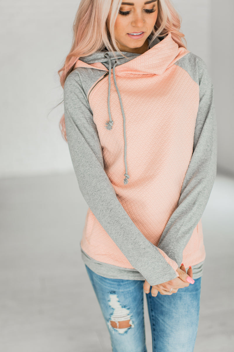 DoubleHood™ Sweatshirt - Quilted Peach