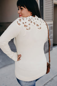 Lace Shoulder Top - Cream