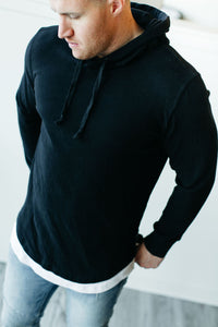 Mens Domination Layered Hoodie - Black