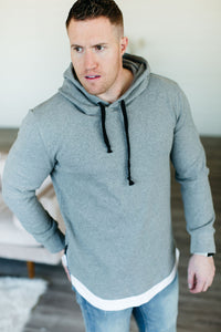Mens Domination Layered Hoodie - Grey