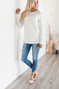 Lace Front Pullover - White