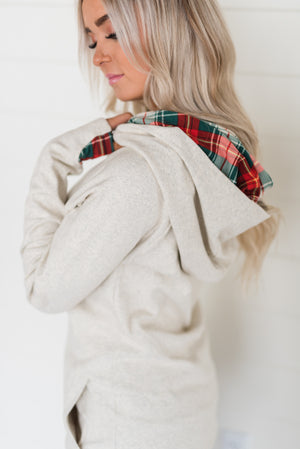 DoubleHood™ Sweatshirt - Oatmeal Plaid