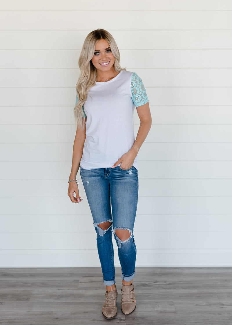 Lace Sleeve Tee - White