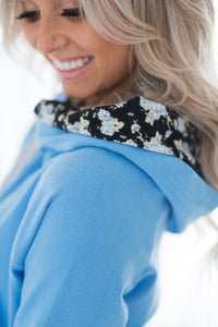 DoubleHood™ Sweatshirt - Bright Blue Floral Accent