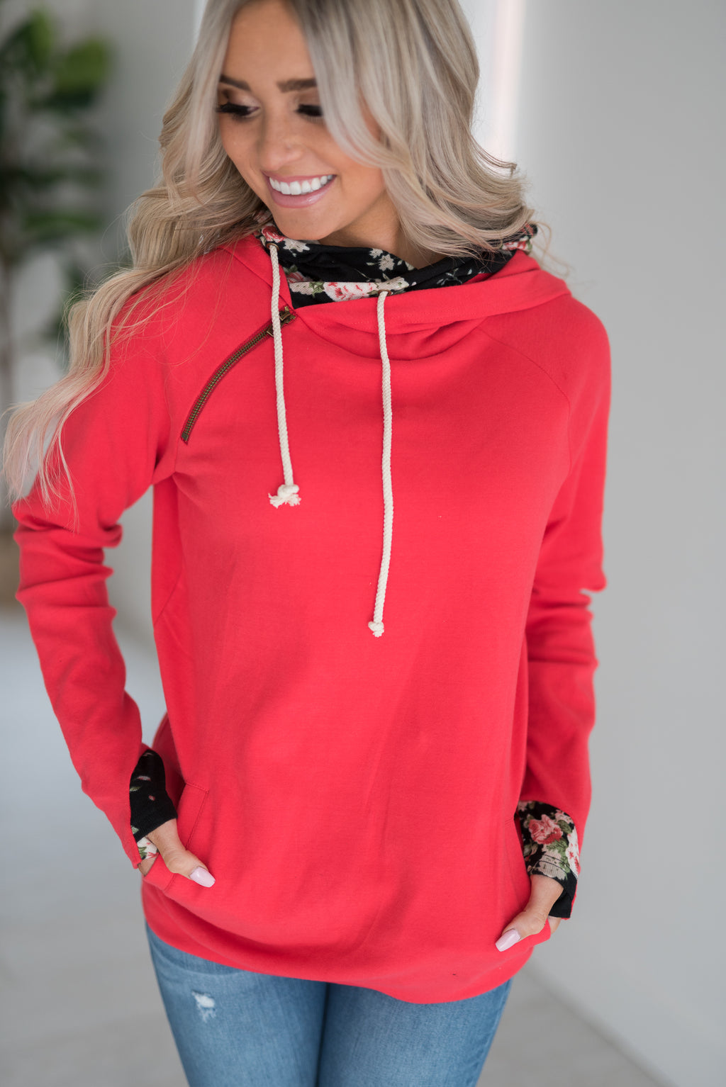 DoubleHood™ Sweatshirt - Bright Red Floral Accent