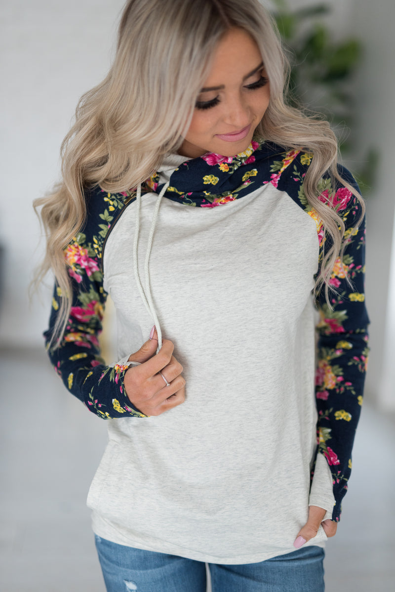 DoubleHood™ Sweatshirt - Navy Floral Accent