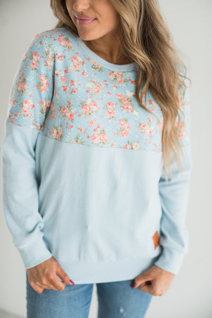 Floral Accent Pullover - Blue on Blue