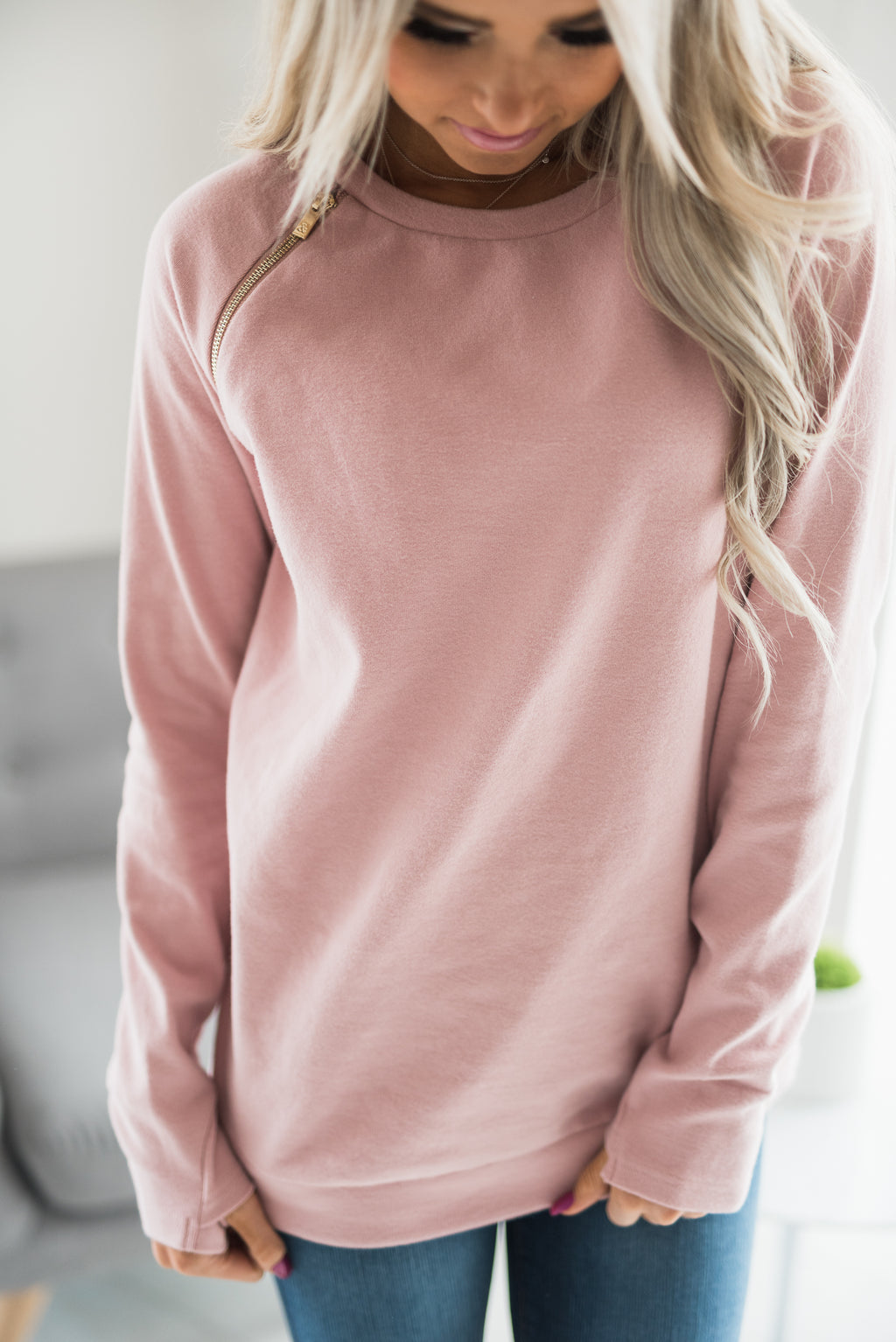 SideZip Pullover - Pink