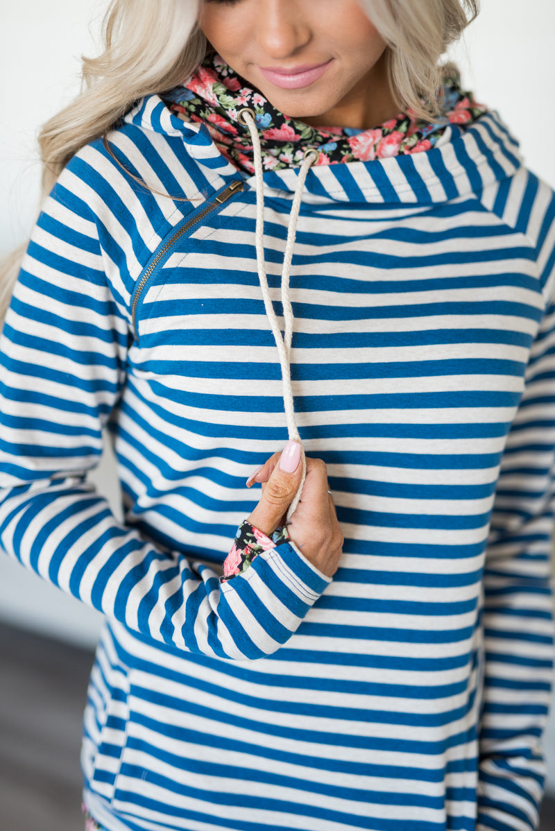DoubleHood™ Sweatshirt - Blue Striped Floral
