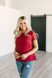 Button Back Lace Top - Red